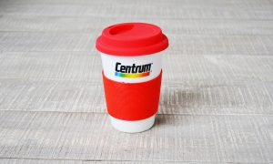 CERAMIC MUG WITH SILICONE RING AND LID