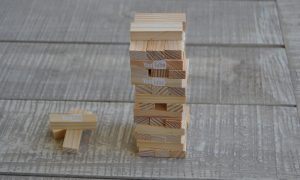 Youtube, wooden blocks forming tower