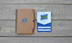 Valuecom, Facebook Spiral Eco Notebook with Pen, Badge