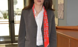 receptionist outfit suit shirt scarf