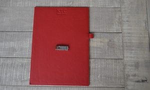 red leather folder