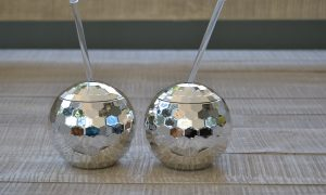 Disco ball shape cup with lid & straw