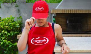 red apron & cap