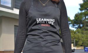 black workshop apron