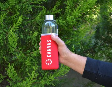 Instructure, CanvasCon Γυάλινο Μπουκάλι Νερού με Θήκη Νεοπρέν