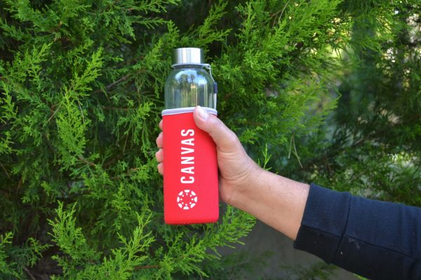 Instructure CanvasCon Γυάλινο Μπουκάλι Νερού με Θήκη Νεοπρέν