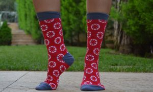 socks with custom jacquard design
