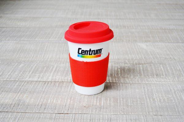 Pfizer Centrum Κεραμική Κούπα με Διπλό Τοίχωμα Σιλικονένια Λαβή Καπάκι