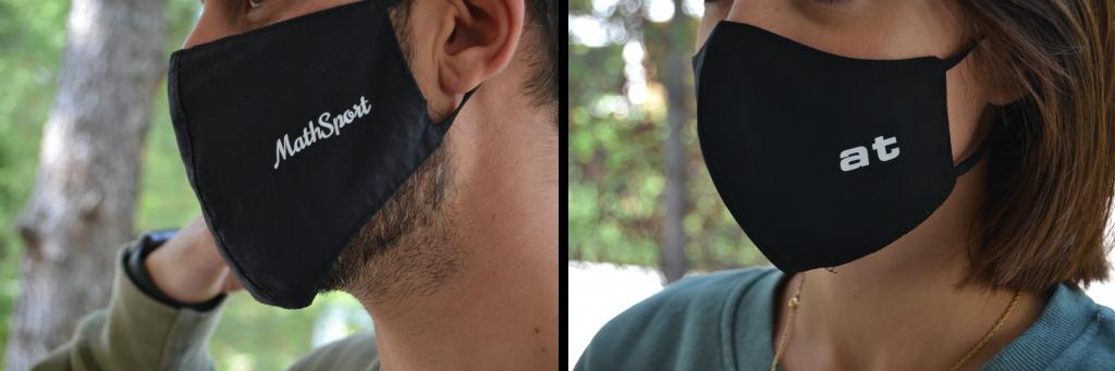 Μαύρες μάσκες προστασίας cup style με διπλό ύφασμα από ποπλίνα, λάστιχο για τα αυτιά, εσωτερικά 100% βαμβάκι, πολλαπλών χρήσεων με όνομα