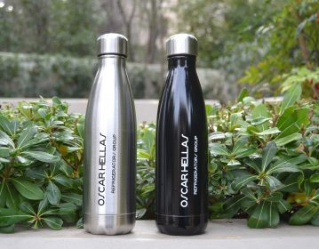 μαύρο & ασημί διπλότοιχο μπουκάλι νερού
