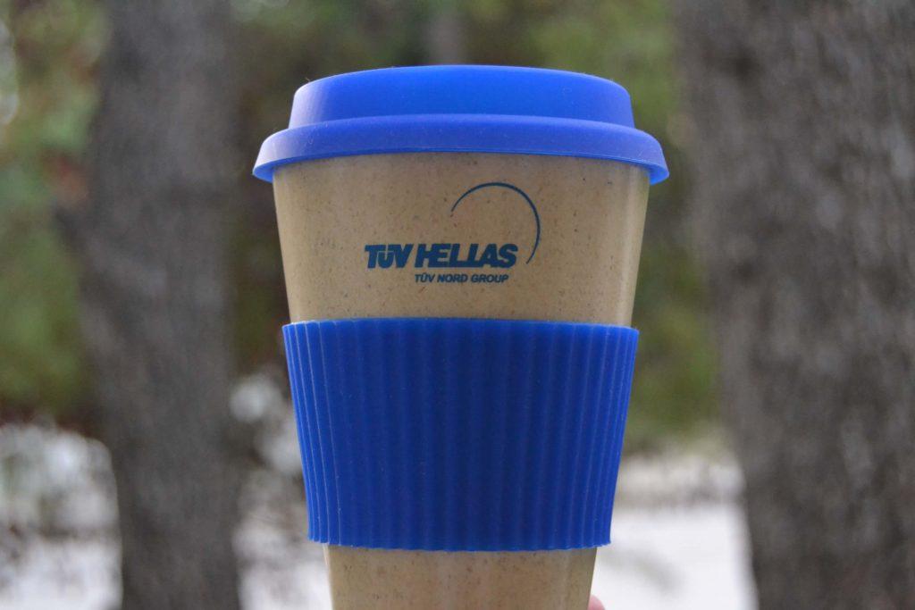 διαφημιστικό ποτήρι καφέ από μπαμπού για την TUV Hellas