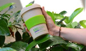 bamboo travel cup with silicone band